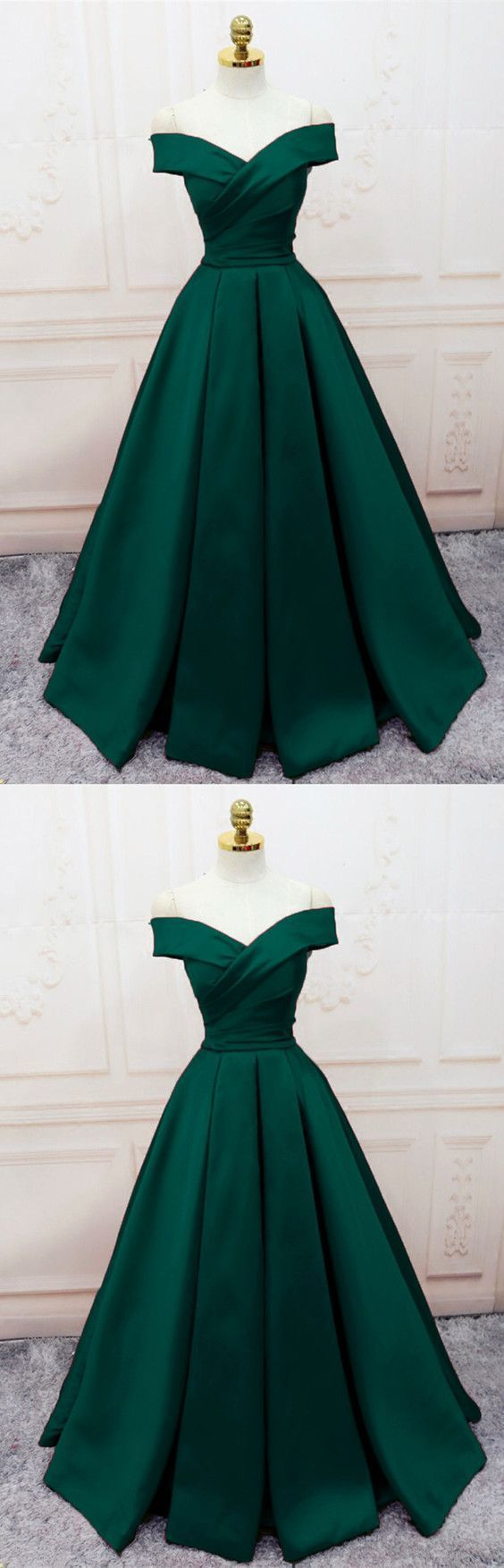Charming Dark Green Satin Long Party Dress 2020, Off Shoulder Evening Gown