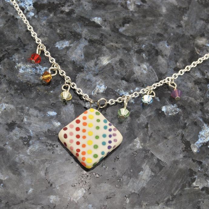 Handmade necklace with rainbow crystal