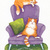 The Napping Gingers Original Cat Folk Art Gouache Painting