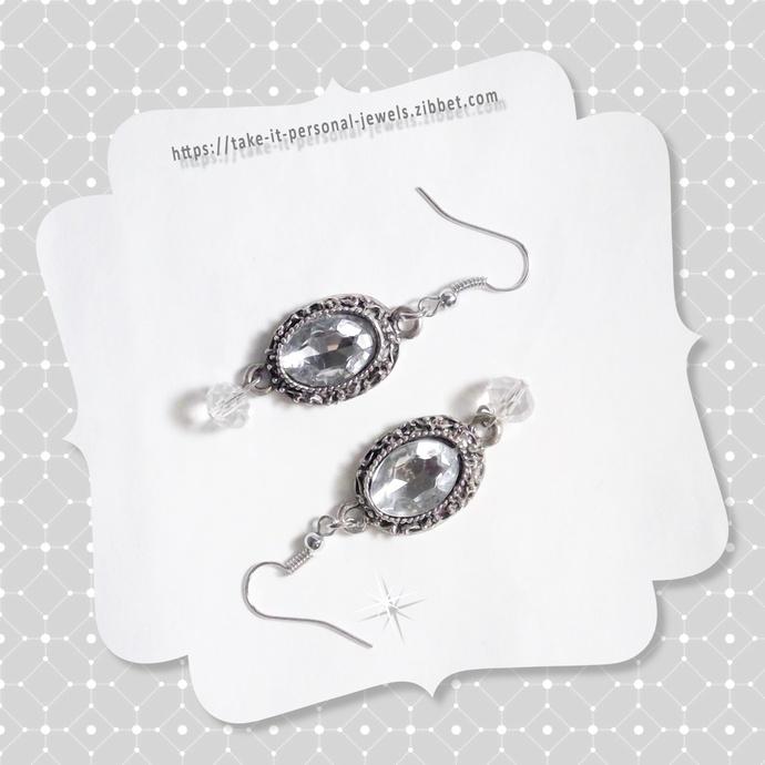 Vintage Style Crystal Dangle Earrings Hypoallergenic Silver Ear Wires
