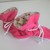 Hot pink corduroy baby TV booties/soft sole shoes SIZE MEDIUM
