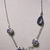 Asymmetrical blue stone necklace with porcelain Delft inspired beads