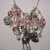 Dangle charms and beads necklace in pink colors