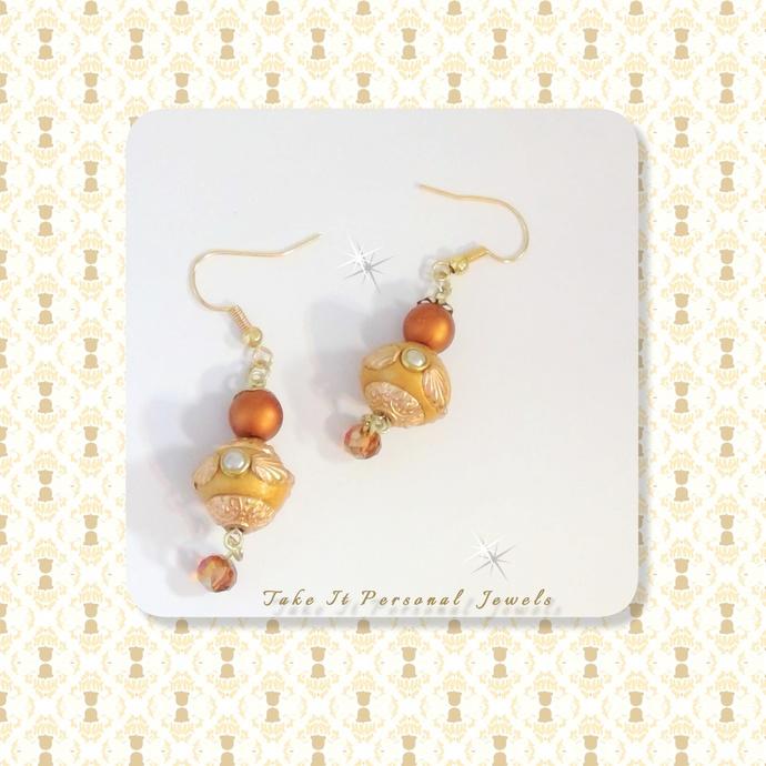 Golden Rustic Crystal Dangle Earrings Unique Jewelry Handmade