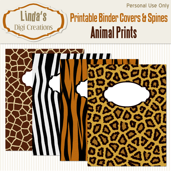 Printable Binder Covers & Spines_Animal Prints