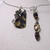 Front opening memory wire choker with tortoise shell print dog tag, key, and