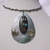 Memory wire choker wrapped with color wire, large metal pendant with wire