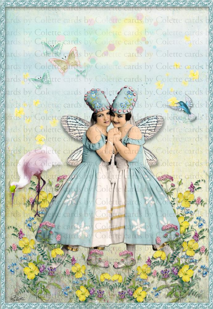 Fairies and Meadow Flowers Digital Collage Greetings Card2605