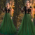 dark green prom dresses long sleeve black lace appliqué simple elegant prom gown
