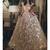 champagne two piece prom dresses long cap sleeve lace appliqué sparkly elegant