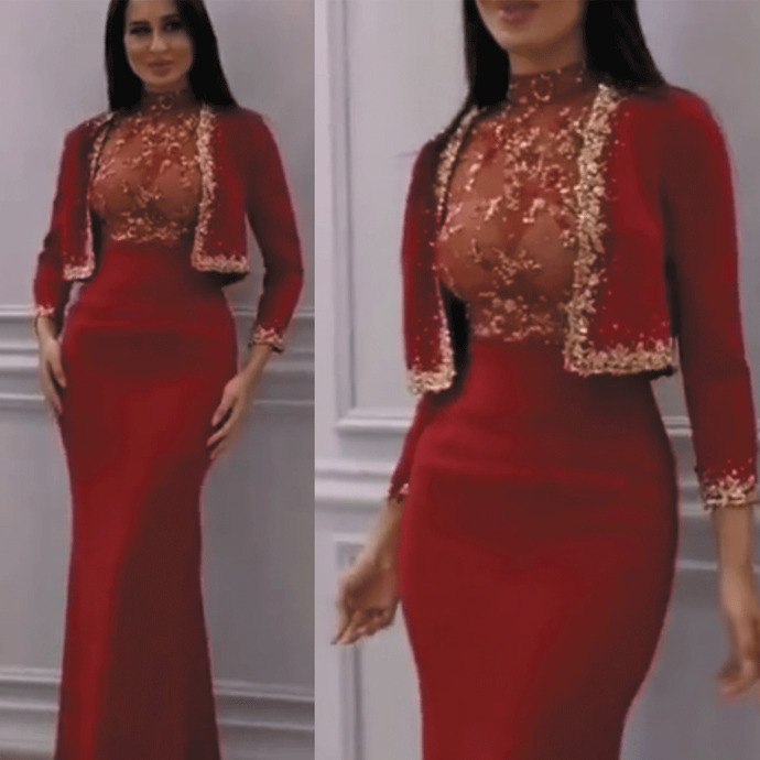 high neck evening dresses with jackets beaded crystals long sleeve mermaid