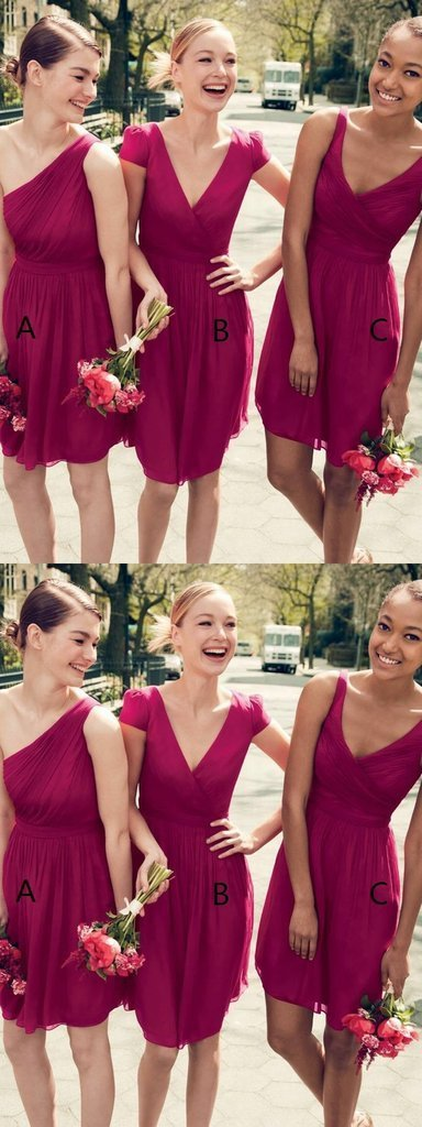 mismatched fuchsia bridesmaid dresses short chiffon a line cheap wedding party
