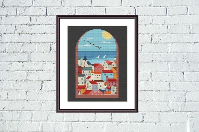 Mediterranean houses city landscape cross stitch pattern