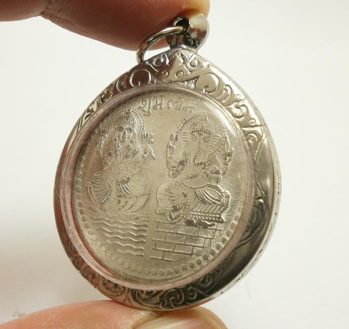 Lakshmi Ganesh Om Coin Pendant blessed in 1980s energized Hindu amulet Locket