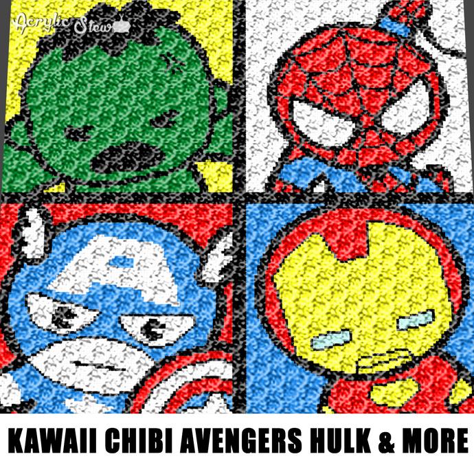 Mini Marvel Superheroes Spiderman Hulk Captain America Iron Man crochet graphgan