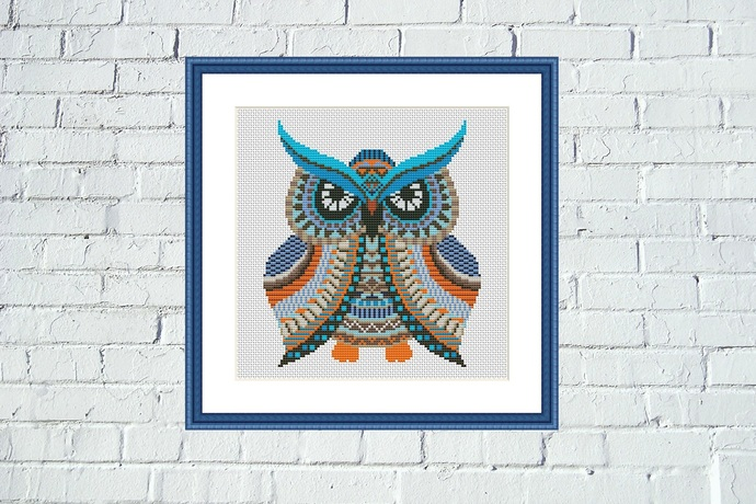 Owl Mandala colorful cross stitch pattern chart