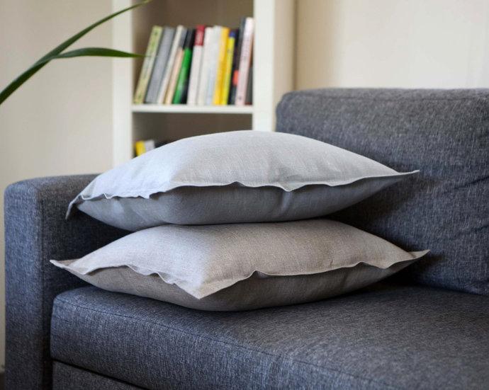 18x18 pillows set of 2, natural linen throw pillows set, flanged pillows set,