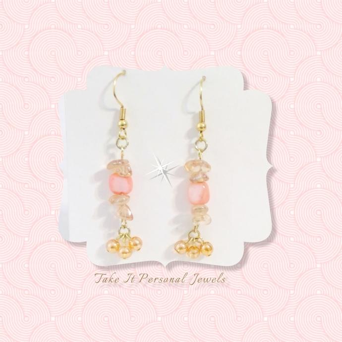 Pink Cube Pearl Dainty Dangle Earrings Handmade Hypoallergenic Ear Wire