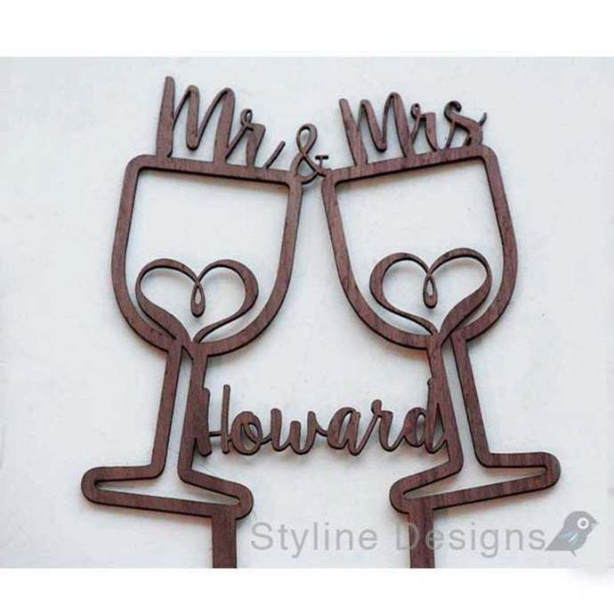 Wine Glasses with Name Romantic Cake Topper