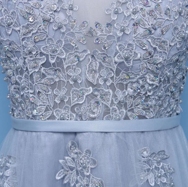 Elegant Light Grey Tulle V-neckline Long Prom Dress, Grey Party Dress