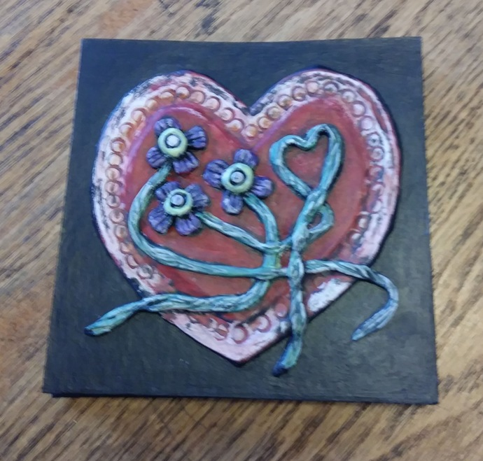 5 x 5 Accordion Book - 3D cover with red heart and small purple flowers. 10