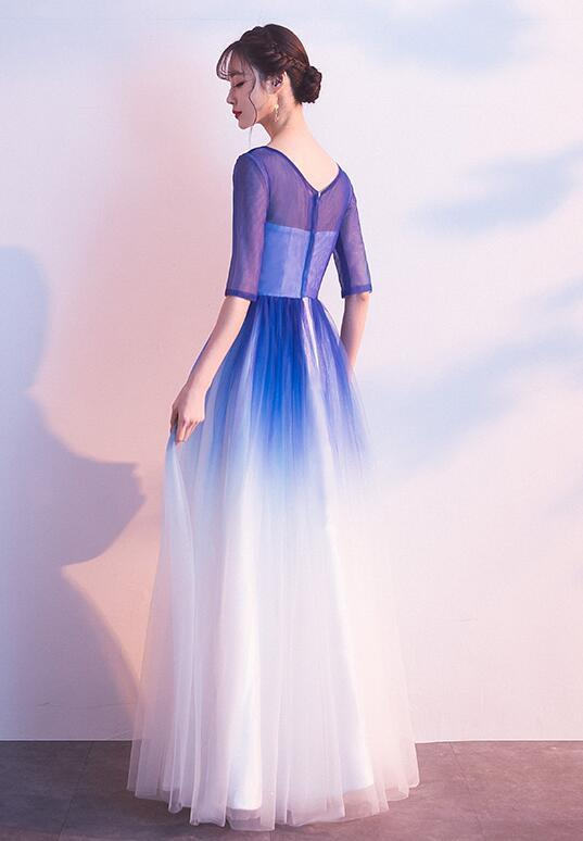Long Blue Gradient Wedding Party Dress, Beautiful Evening Gown