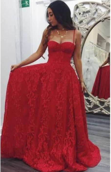 lace applique red prom dresses long spaghetti straps elegant a line cheap prom