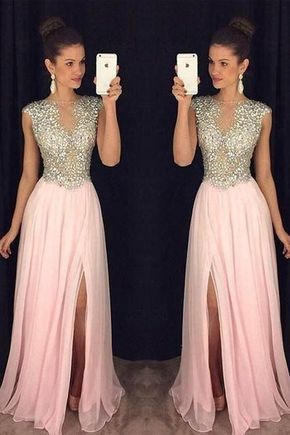 cap sleeve beaded prom dresses long chiffon deep v neck pink sexy formal prom