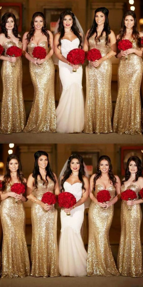 gold sequin bridesmaid dresses long mermaid sparkly elegant cheap wedding guest