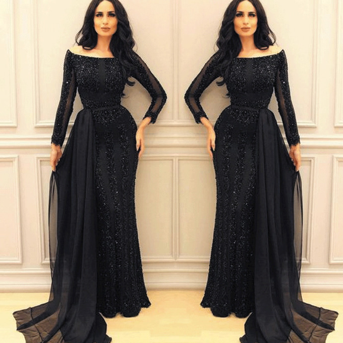 black beaded evening dresses with detachable train mermaid long sleeve crystals
