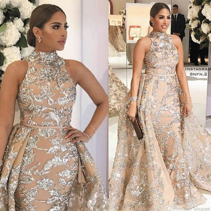 champagne evening with detachable train silver sequin applique high neck sparkly