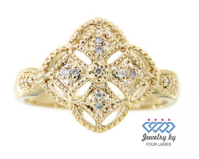Solid Real Natural Clover Shaped Cluster Diamond Ring| 14K Yellow Gold 0.06 CT