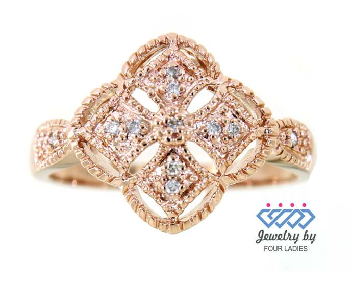 Solid Real Natural Clover Shaped Cluster Diamond Ring| 14K Rose Gold 0.06 CT