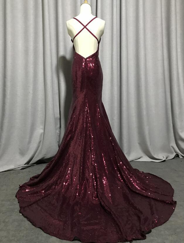 Burgundy Sequins Mermaid Straps Party Dress, Long Evening Gown