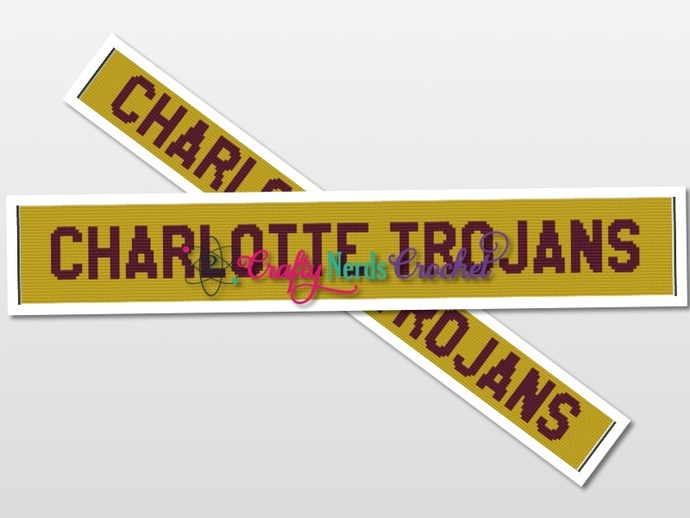 Charlotte Trojans Scarf Pattern Graph With Single Crochet Written