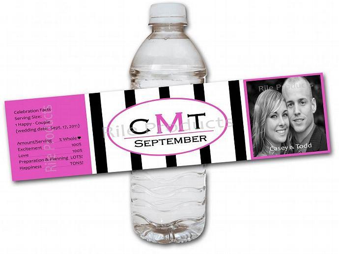Stripe Monogram Water Bottle Label (Pack of 50)