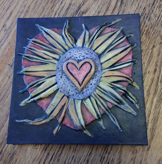 5 x 5 Accordion Book - 3D cover with a sunshine heart. 10 Blank pages inside,