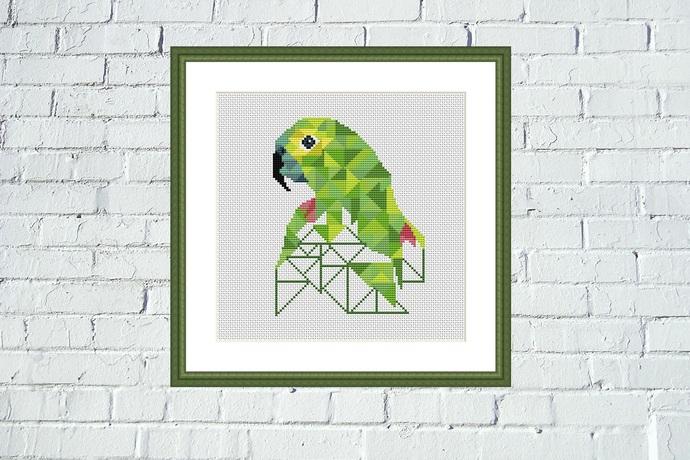 Geometric parrot cross stitch pattern