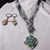 Multi-media necklace and earring set with polymer clay pendants, eyelas yarn,