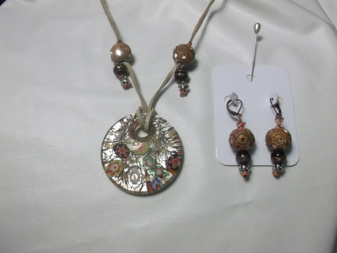 Large millefiori inspired lampwork pendant necklac with decorated brown beads