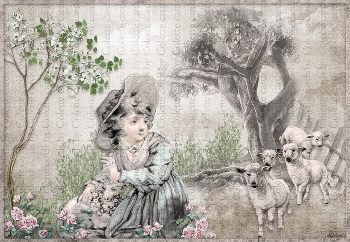 Girl and Her Favorite Lamb Digital Collage Greeting Card2607