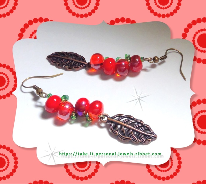 Bright Cherry / Leaf Dangle Earrings Hypoallergenic Hook EarWire