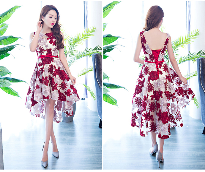 Lovely Red Lace High Low Homecoming Dress, Red Formal Dress 2020