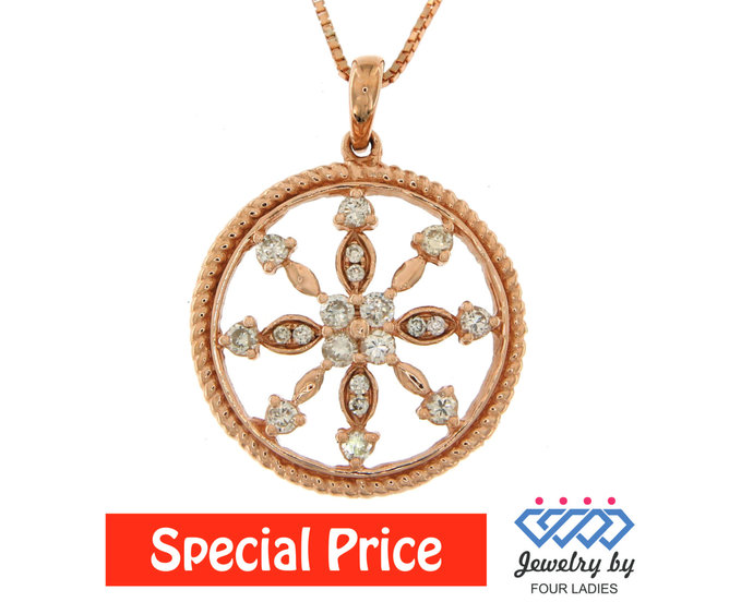 Solid Real Natural Wheel Shape Round Diamond Pendant 14K Rose Gold 0.36CT