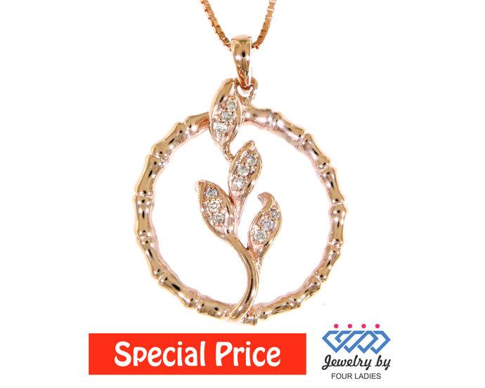 Real Natural Leaf Inside Fancy Circle  Diamond Pendant 14K Rose Gold 0.07CT