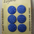 Blue Glass Vintage Buttons on Original Card 6 Buttons Made in Czechoslovakia