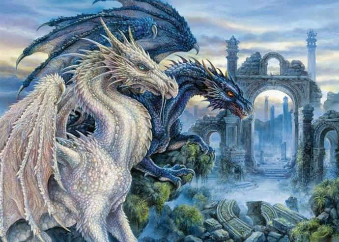 Dragons cross stitch,two dragon pattern embroidery,fantasy embroidery,white