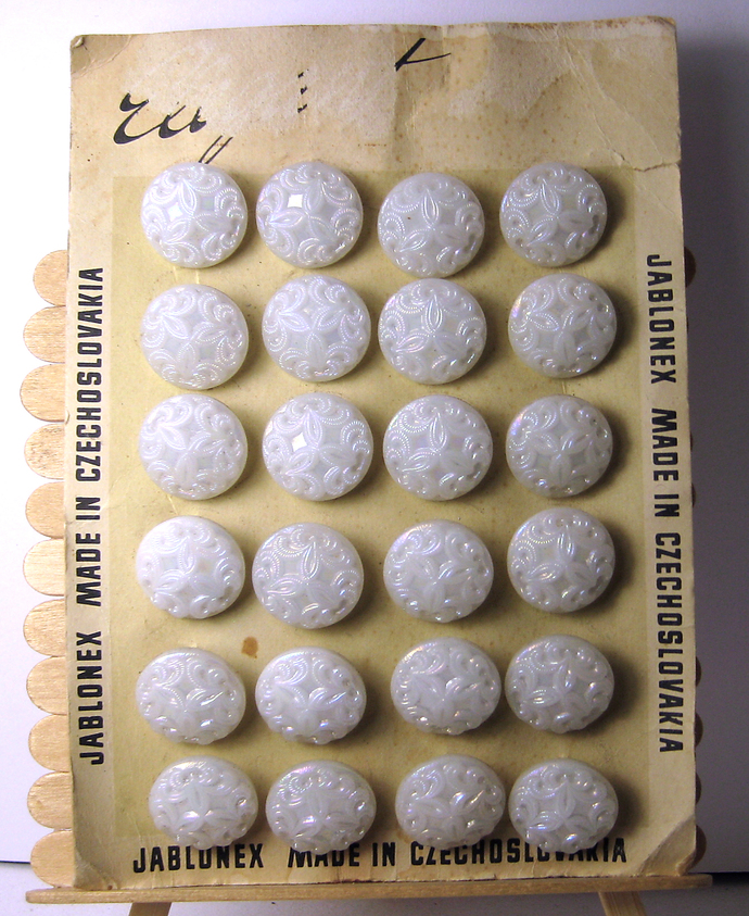 "11/16"" White Glass Vintage Buttons Original Card Made in Czechoslovakia"