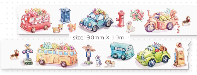 1 Roll of Limited Edition Washi Tape: Succulent Plant and Bus