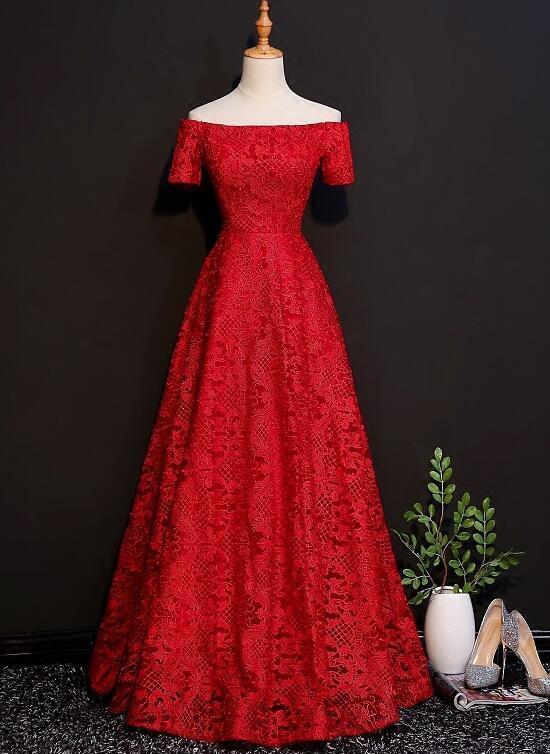 Pretty Red Lace A-line Formal Gown, Red Party Dress 2020